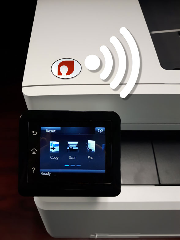 Fivel-NFC-tag-on-printer-white-signal