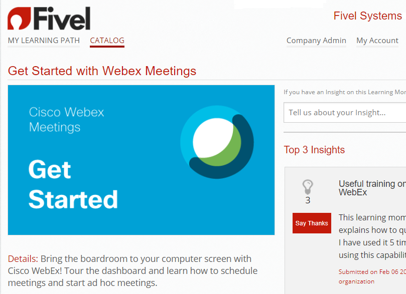 Webex Meetings catalog
